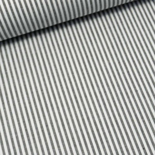 Baumwoll Popeline Streifen MELIERT schwarz