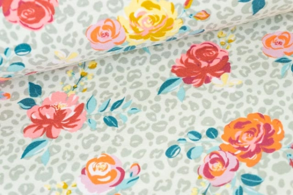 Baumwolljersey Small Leo Print and Flowers beige Ökotex 100