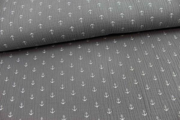 Musselin Anker grau-weiß Ökotex 100 100% Cotton