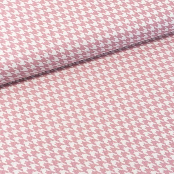 Baumwollwebware Italienische Kollektion Hahnentritt altrosa