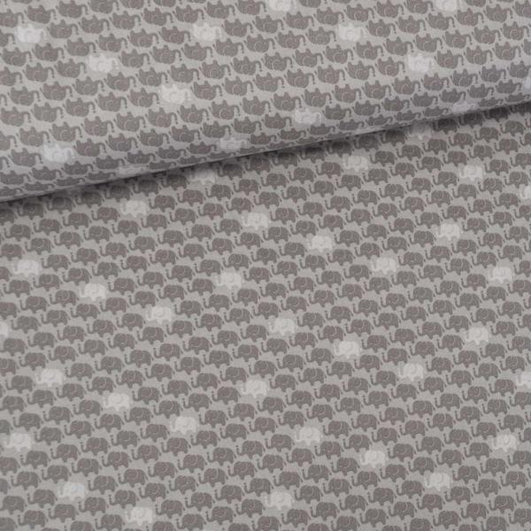 Baumwollwebware Elefanten grau