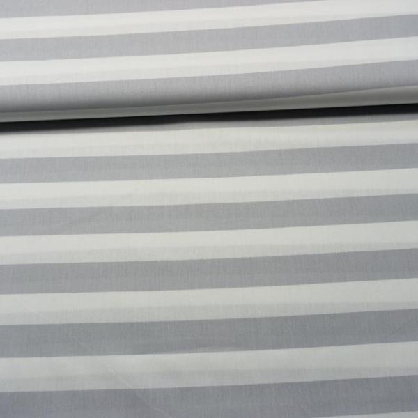 Baumwollwebware Blockstreifen weiß-hellgrau