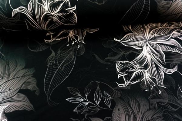 Bio-Sweat French Terry Wavey Blossom silver-grey Ökotex 100
