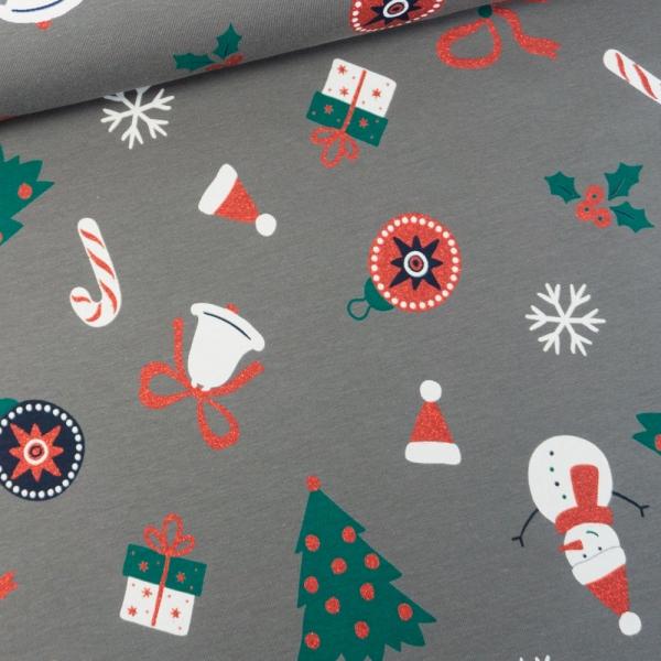 Baumwolljersey Christmas Presents grau