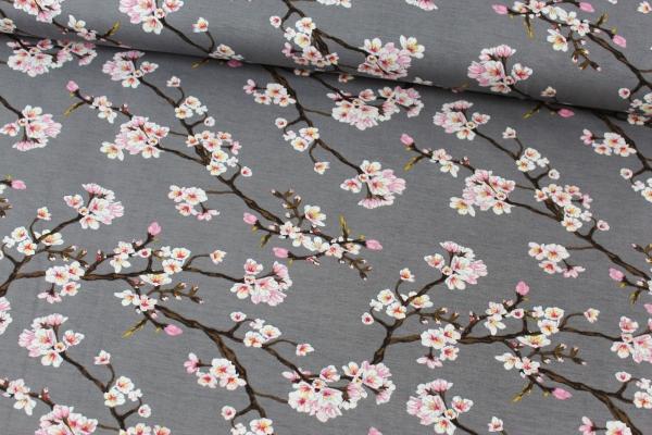 Modaljersey Blütenstränge grau Öko Tex 100