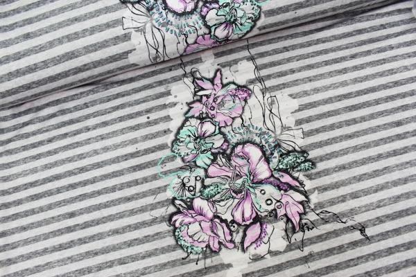 Viskosejersey Panel Watercolor Picture and Stripes hellgrau meliert Ökotex 100