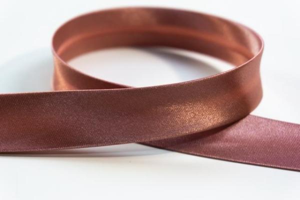 Satin Schrägband 18mm breit vorgefalzt altrosa Ökotex 100