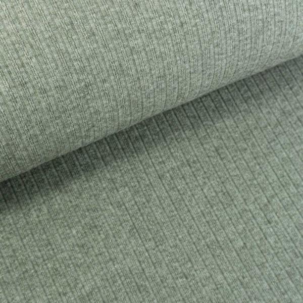 Jaquard Ripp-Knit Smooth Melange khaki