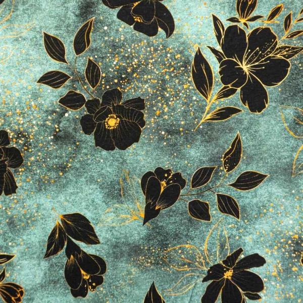Bio-Baumwolljersey Melange Blackflower dusty mint
