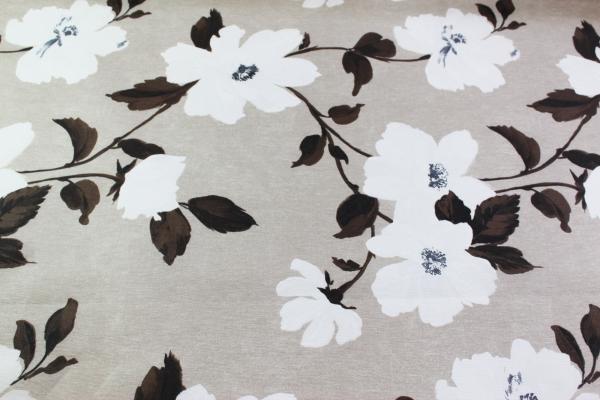 Beschichtete Webware Wachstuch Blumenranke braun-weiß Öko Tex 100