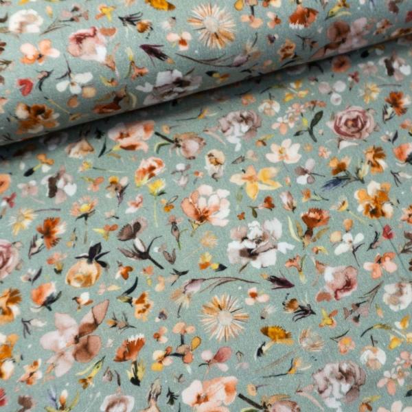 Bio Musselin Digital Wildflowers dusty mint