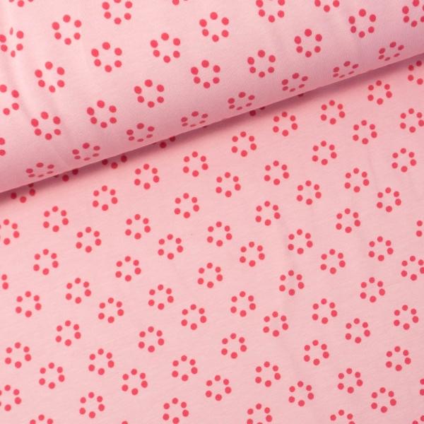 Baumwolljersey Punktkreise rosa