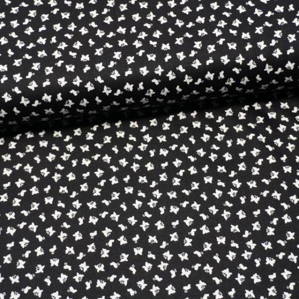 Baumwollwebware Mini Schmetterlinge schwarz