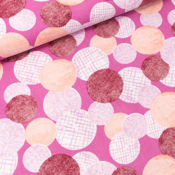 Viskose Leinen Circles pink-beere