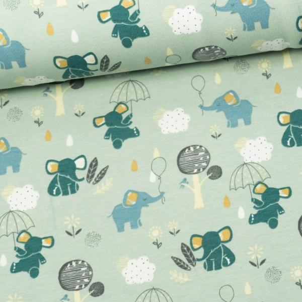 Baumwolljersey Little Elephant dusty mint