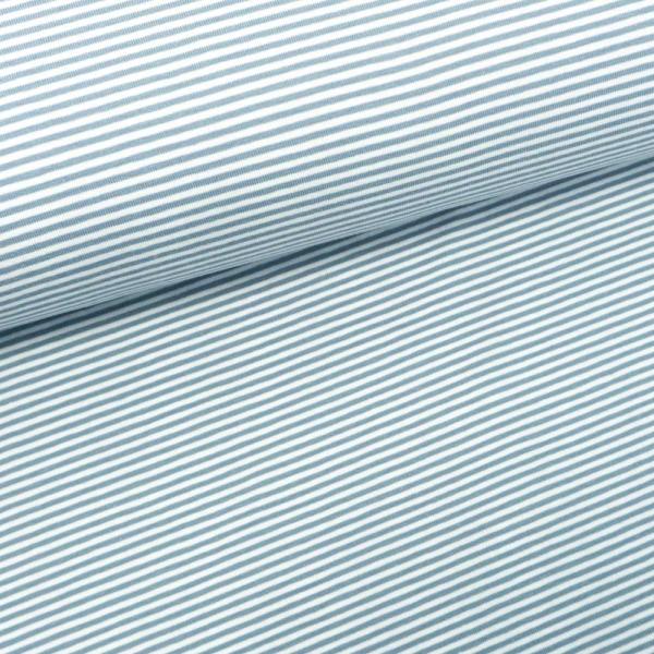 Baumwolljersey Ringel weiß-jeansblau