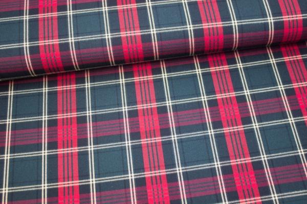 Fashionstoff Schottenkaro Twill elastisch klassisch tannengrün-bordeaux-rot GROß Ökotex 100