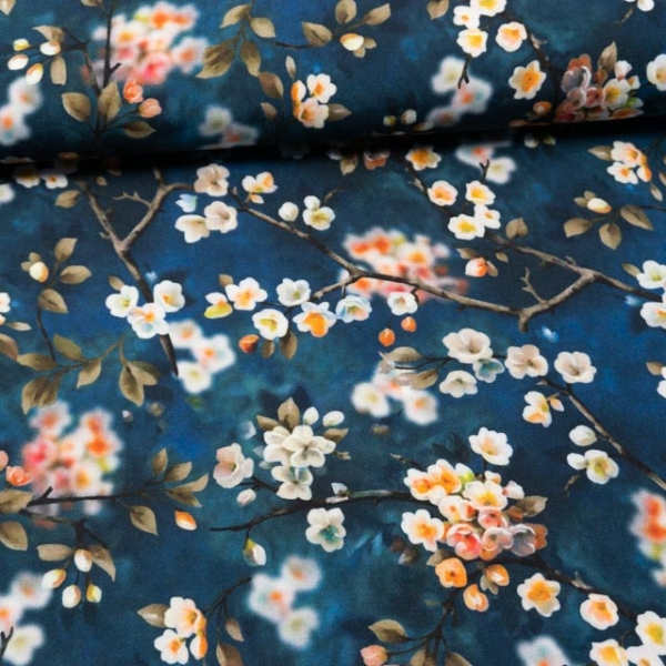Viskosewebware Kirschblüten dunkelblau