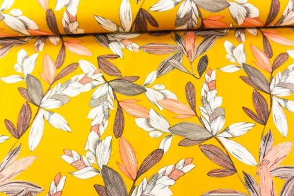 Jersey Soft Skin DIGITAL Fancy Flower senf Ökotex 100