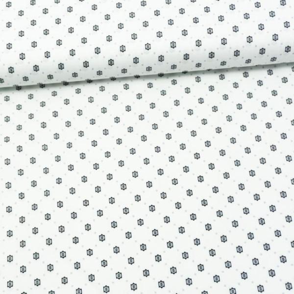 Baumwollwebware Dots weiß