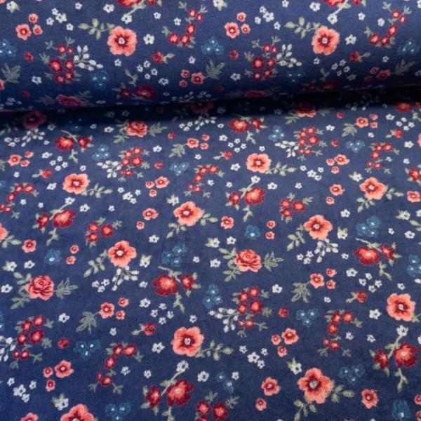 Nicki Velours Großes Blumenmeer jeansblau dunkel