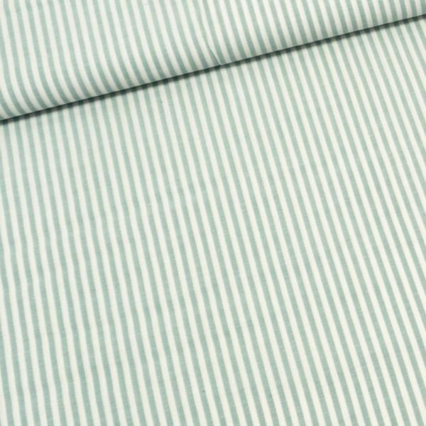 Baumwoll Popeline Streifen MELIERT mint