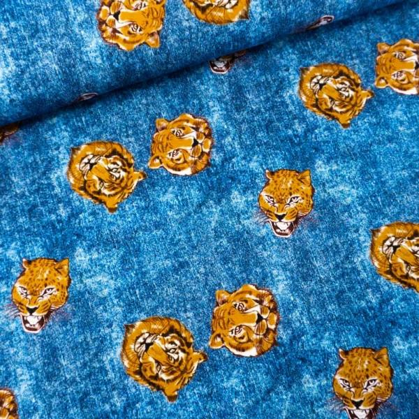 Baumwolljersey Jeanslook Tiger Heads jeansblau