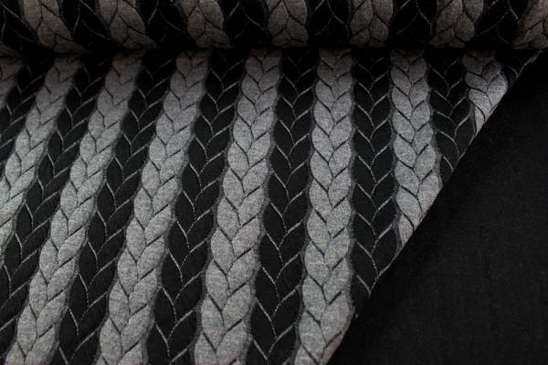 Jacquard Cable BI-COLOR schwarz-grau meliert Ökotex 100