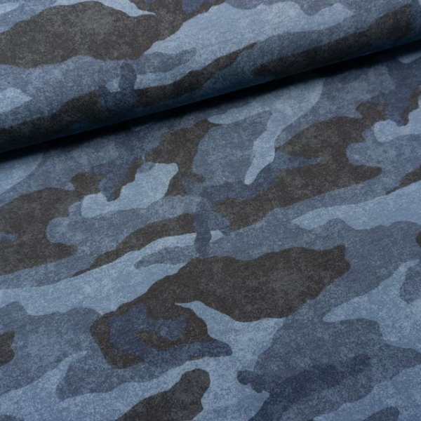 Sommersweat French Terry Camouflage USED blau