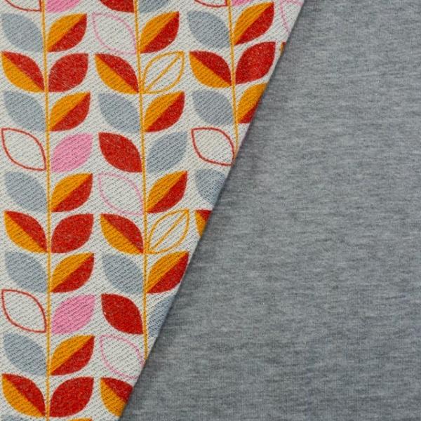 French Terry Backsideprint Blätterranke senf