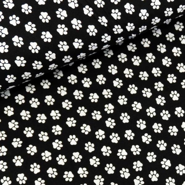 Baumwollwebware Pfoten schwarz