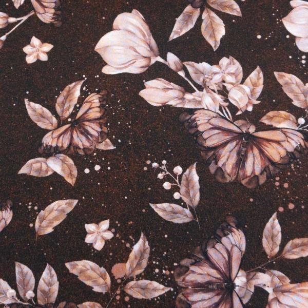 Bio-Baumwolljersey Lovely Butterfly MELANGE terra