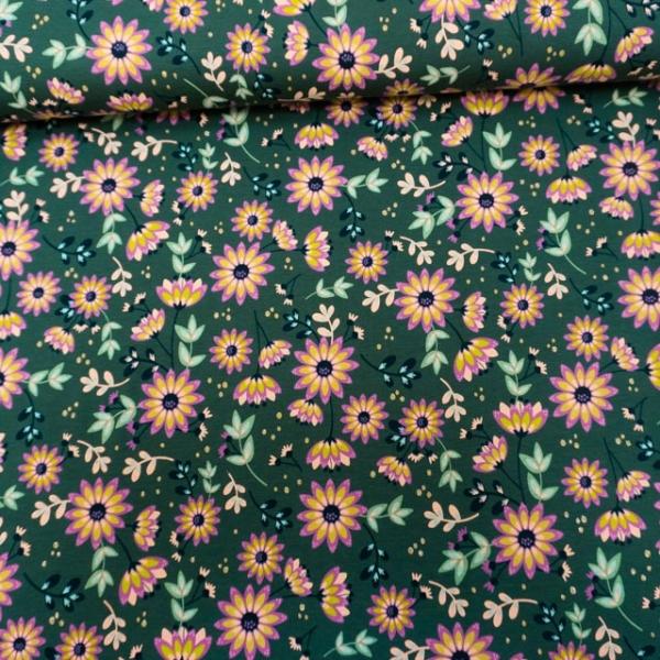 Baumwolljersey Glitzerflowers dunkelgrün
