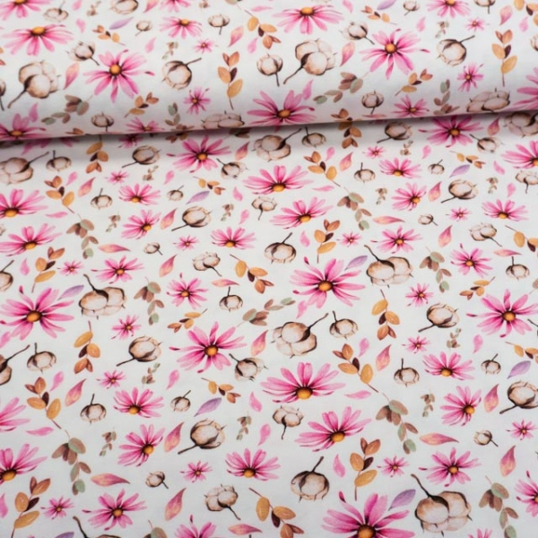 Baumwolljersey Digital Cotton and Flower ecru