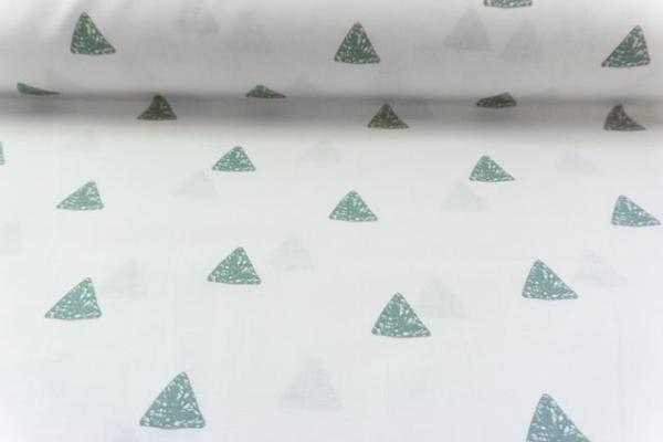 Baumwolle/Webware Drawing Triangle weiß-dusty mint Ökotex 100