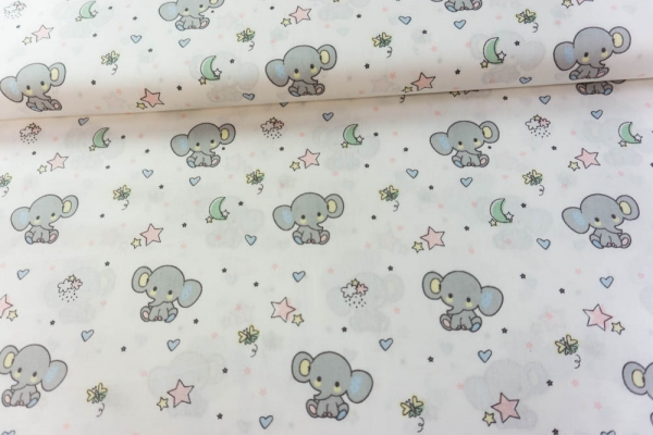 Baumwolle/Webware Sweet Elephant weiß Ökotex 100
