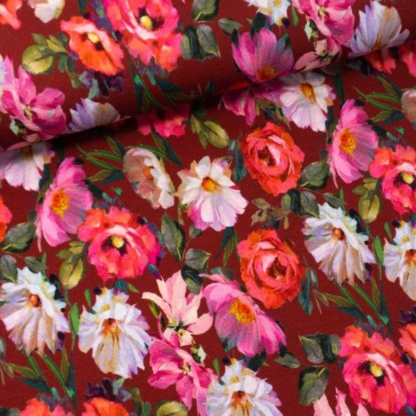 Viskosejersey Sommerblumen bordeaux