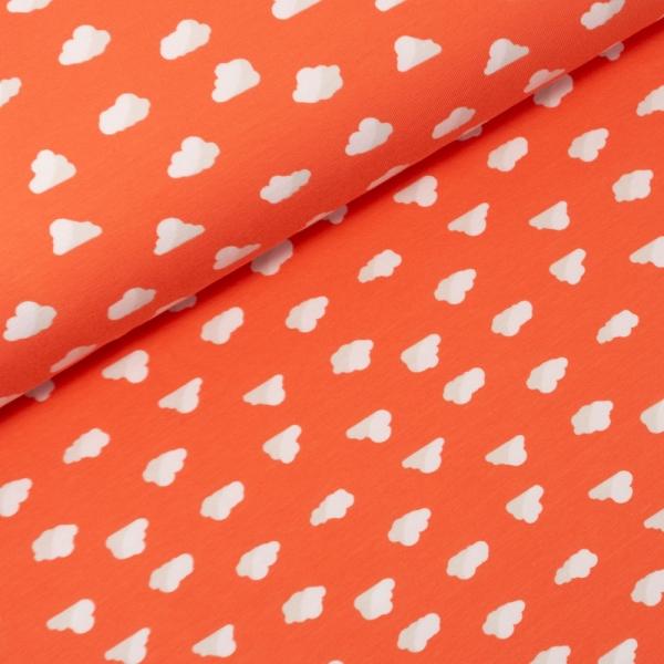 Baumwolljersey Wölkchen orange