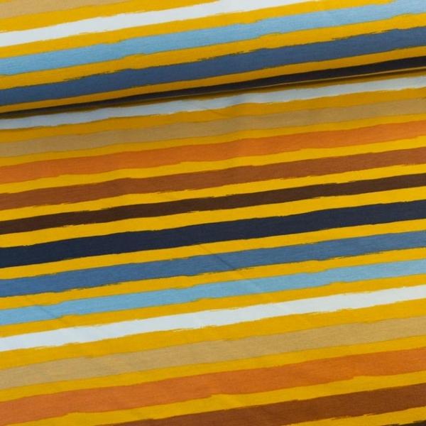 Sweat French Terry Stripes senf-jeansblau-braun Ökotex 100