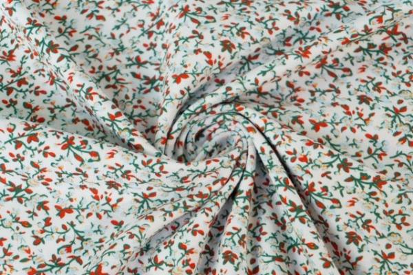 Baumwolljersey kleine Rosenranken weiß-grün Ökotex 100