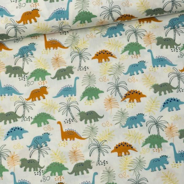Baumwollwebware Dinos & Leaves ecru