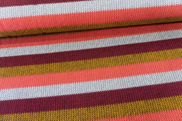 Sweat French Terry angeraut Statement Stripes Knit bordeaux-senf-coral-grau Ökotex 100