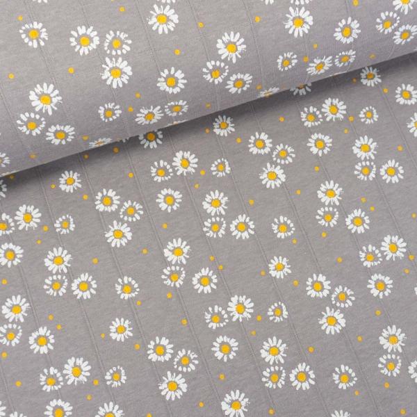 Musselin Jersey Double Gänseblümchen grau