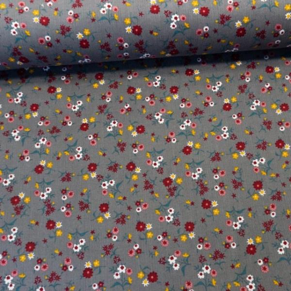 Babycord Blumenwiese grau