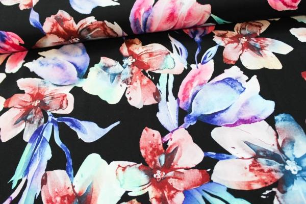 Viskose Watercolour Flowers schwarz-pink-petrol Öko Tex 100