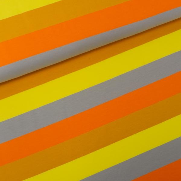 Baumwolljersey Big Stripes senf