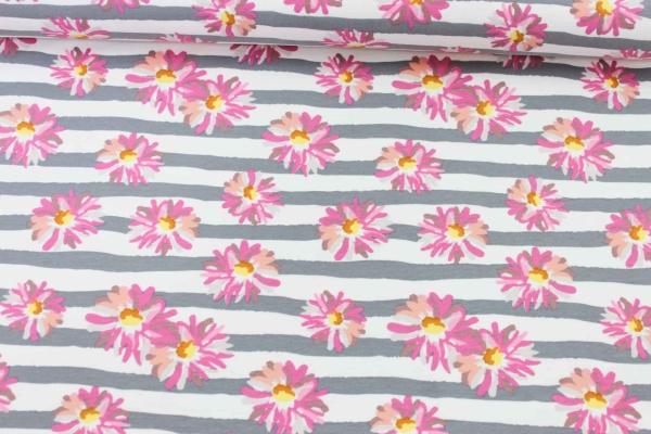 Sweat unangeraut Flowers and Stripes grau Ökotex 100