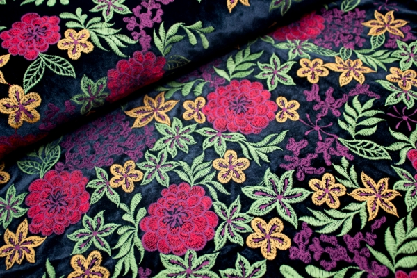 Samt Florale Bestickung elastisch schwarz Ökotex 100