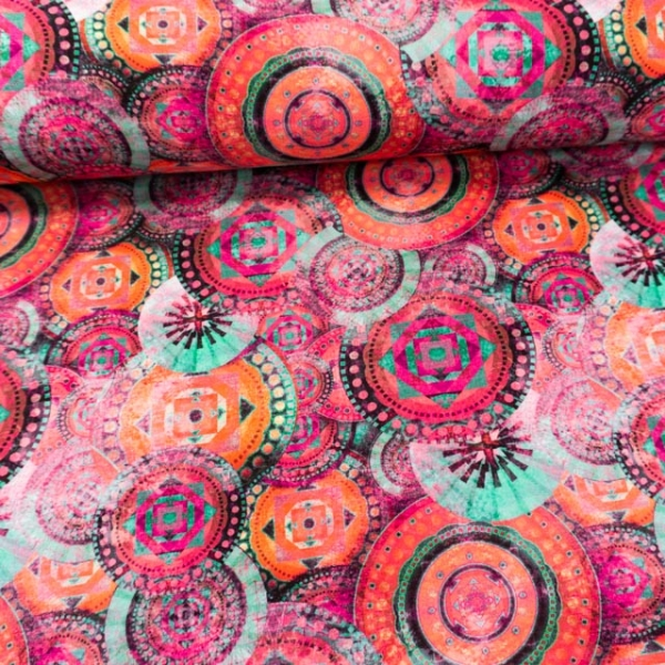 Sommersweat French Terry Digital Psychedelic Mandala pink-beere