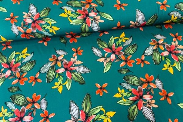 Viskosewebware Painted Flowers DIGITAL petrol Ökotex 100